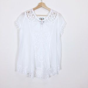 Johnny Was Embroidered Floral Boho Blouse Top